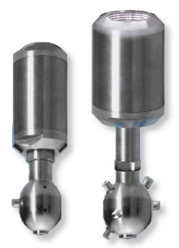 Left: Type UBA 2500 Single-Axis Rotating Spray Ball Right: Type UBA 3150 Single-Axis Rotating Spray Ball