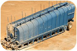 Frac tank cleaning (a.k.a. Baker and Weir tanks) with Butterworth tank cleaning machines uses less water.